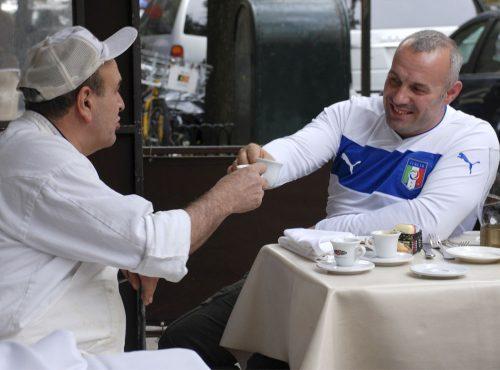 Chef Nicola enjoying espresso with a friend